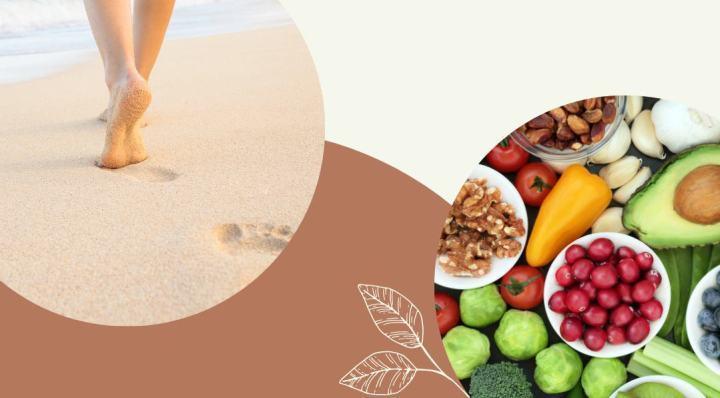 séta a tengerparton + zöldésg gyümölcstál