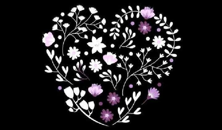 fekete - fehér - mályva hímzett szív